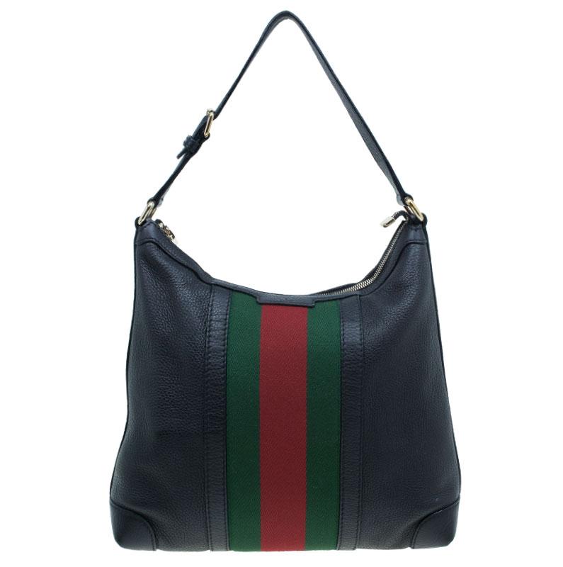 373ace9ec43a ... Gucci Black Leather Medium Vintage Web Detail Hobo Bag. nextprev.  prevnext