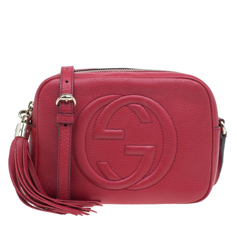 f856e8c8485b Buy Gucci Red Leather Soho Disco Crossbody Bag 41187 at best price | TLC