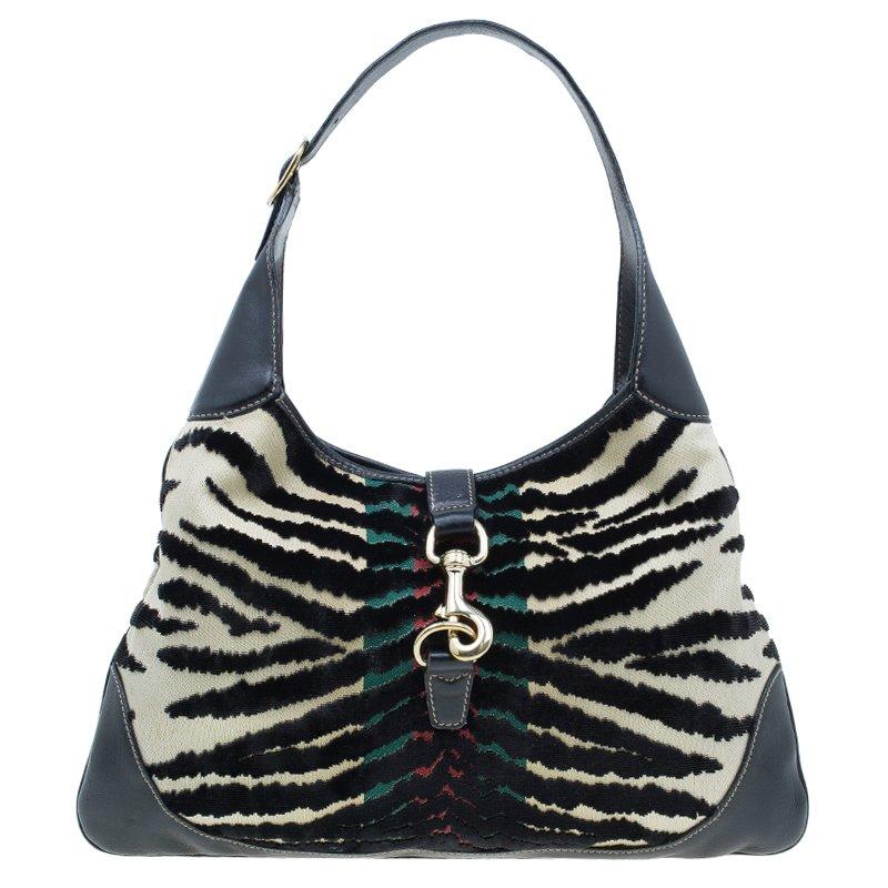 7670e6b802d9 ... Gucci Black Fabric/Leather Zebra Print Jackie O Hobo Bag. nextprev.  prevnext