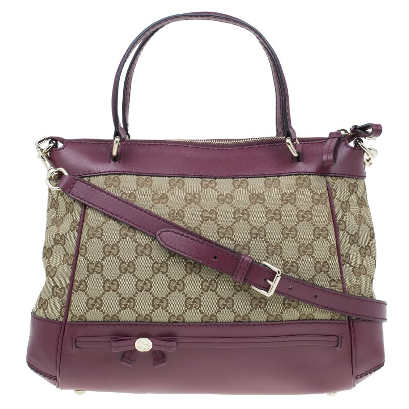 c28b1e7ccec ... Gucci Purple Monogram Leather/Canvas Medium Mayfair Bow Top Handle Bag.  nextprev. prevnext