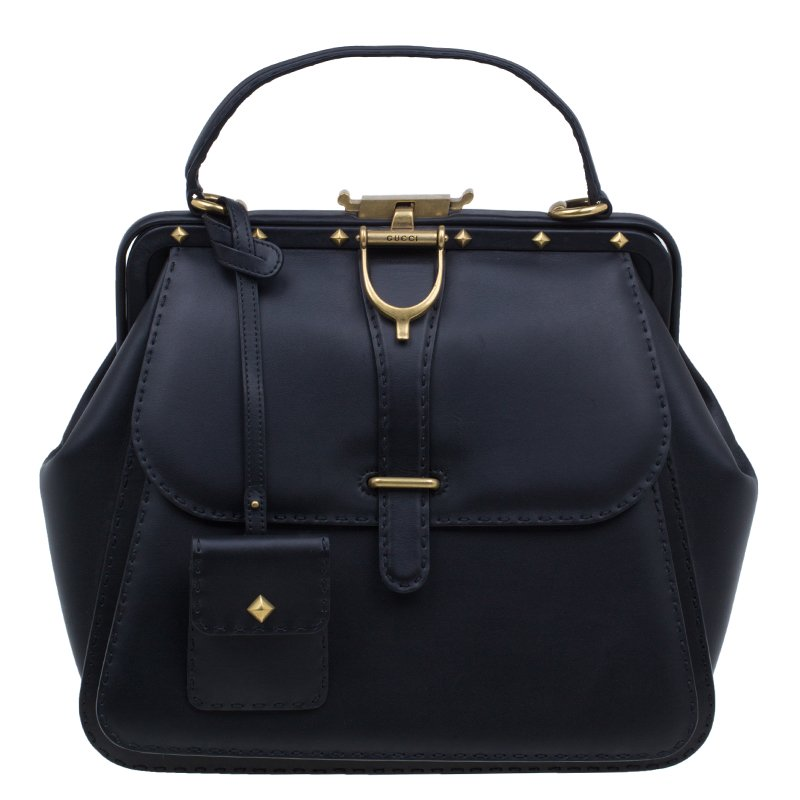 026aac381454 ... Gucci Black Leather Large Limited Edition Lady Stirrup Top Handle Tote  Bag. nextprev. prevnext