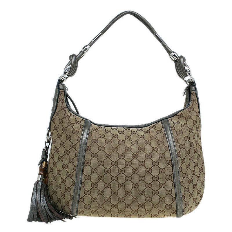 8ce2df9c7 ... Gucci Beige/Grey GG Canvas Medium Techno Horsebit Hobo Bag. nextprev.  prevnext