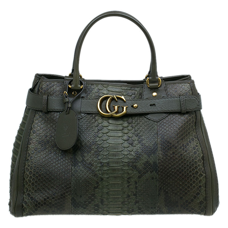 53d063a9836 ... Gucci Army Green Python Large GG Running Tote Bag. nextprev. prevnext