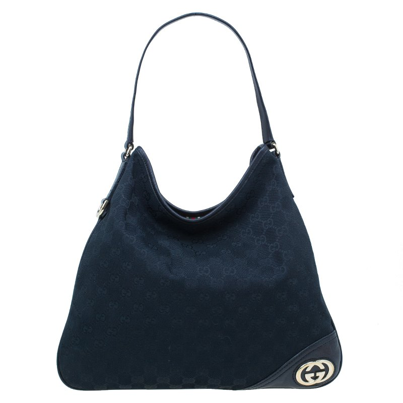 850edc96a64e ... Gucci Black GG Canvas Medium New Britt Hobo Bag. nextprev. prevnext
