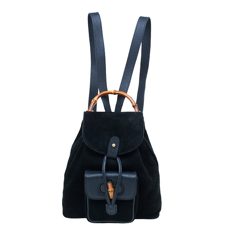 606debf0d51d30 ... Gucci Black Suede/Leather Mini Bamboo Handle Backpack Bag. nextprev.  prevnext