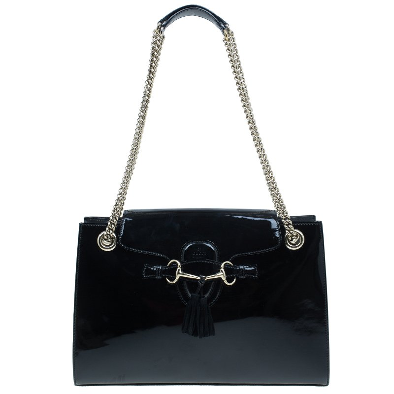 3e1d02a3d14 ... Gucci Black Patent Leather Large Emily Chain Shoulder Bag. nextprev.  prevnext