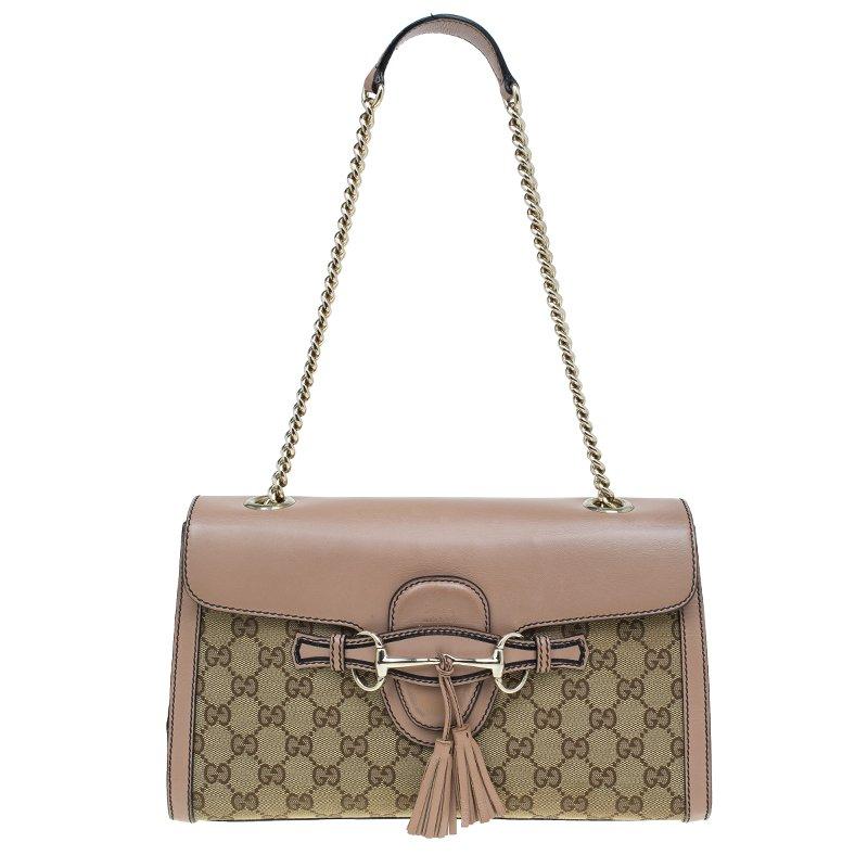 a5d8436b83e3 ... Gucci Beige GG Canvas/Leather Medium Emily Chain Shoulder Bag.  nextprev. prevnext