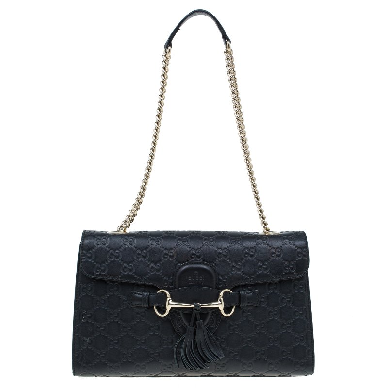 e8ab10182824 Buy Gucci Black Guccissima Leather Emily Chain Shoulder Bag 4710 at ...
