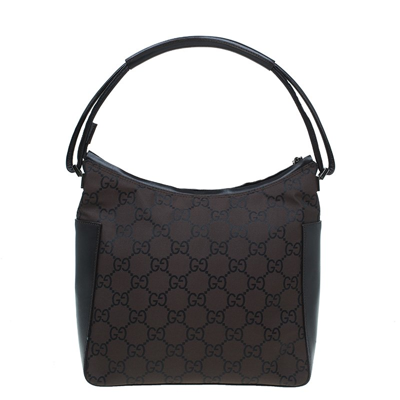 ccfaf5dbb5c9 Buy Gucci Dark Brown GG Nylon and Leather Hobo 48719 at best price | TLC