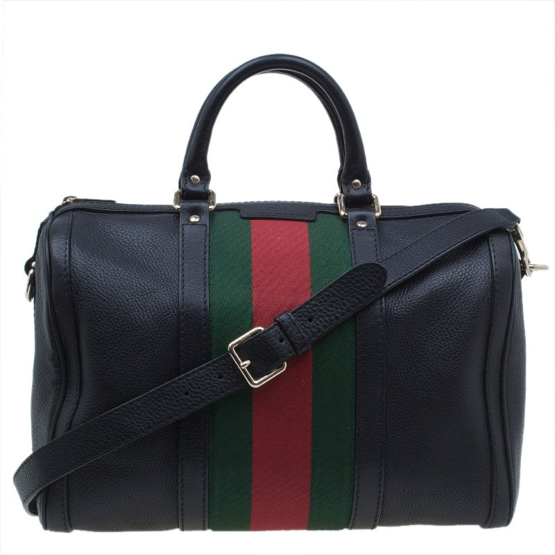 Gucci Black Leather Medium Vintage Web Boston Bag Nextprev Prevnext