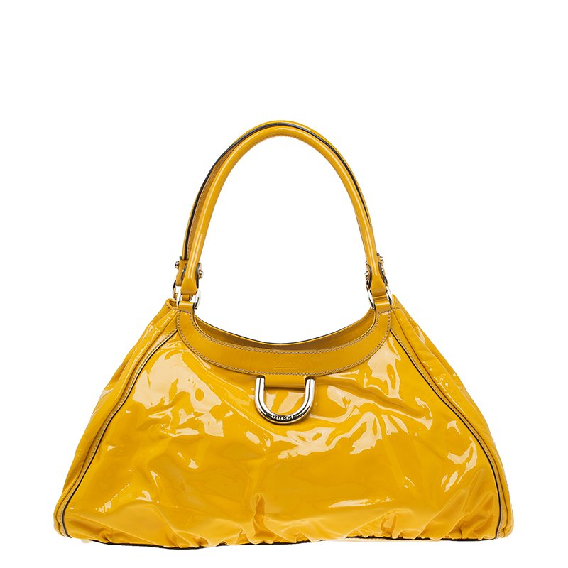 Gucci Yellow Patent Leather Large D Ring Top Handle Bag