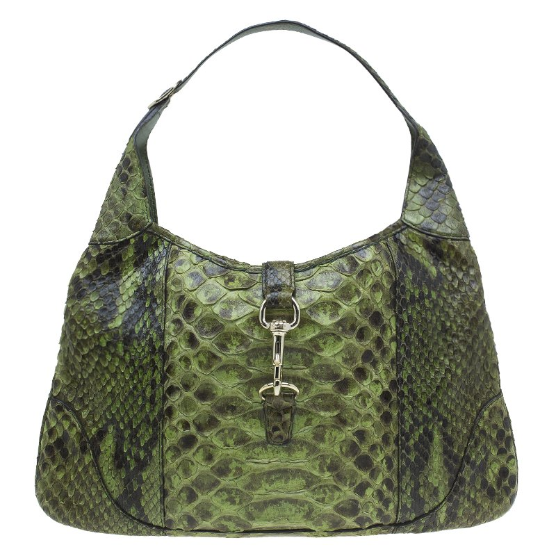 3374c29d1 Buy Gucci Green Python Jackie O Bouvier Hobo 51357 at best price | TLC