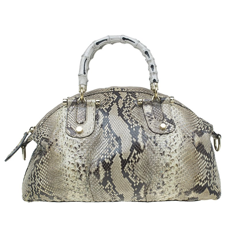 6b86e5ce5241 Buy Gucci Beige Python Pop Bamboo Top Handle Bag 51559 at best price ...