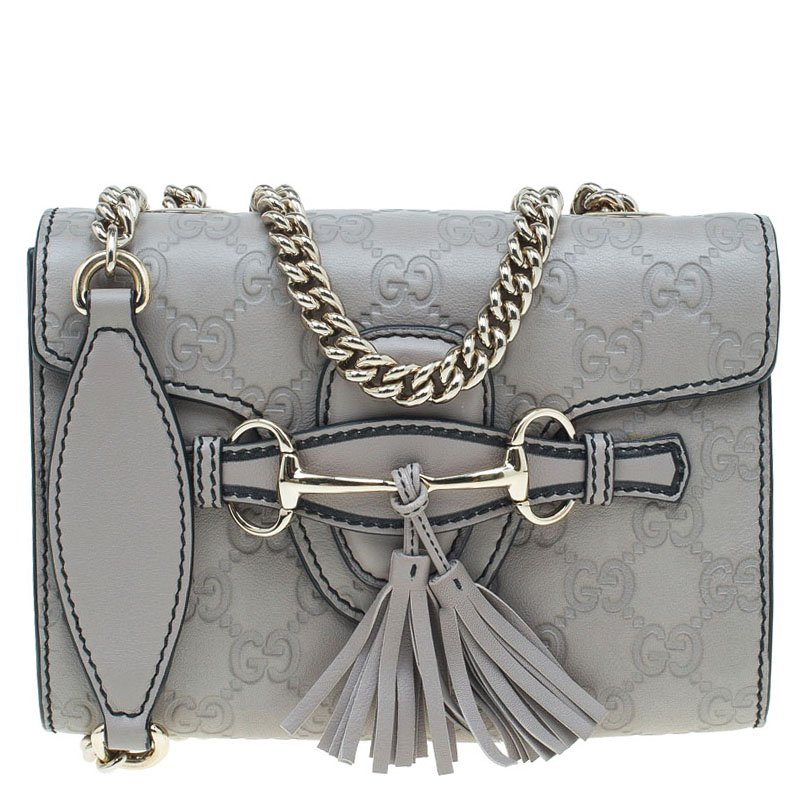 7b526165d25f ... Gucci Grey Guccissima Leather Mini Emily Chain Shoulder Bag. nextprev.  prevnext