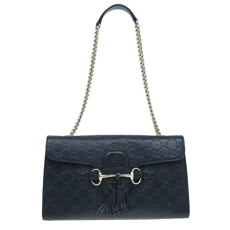 ac6f5f88fa3 ... Gucci Black Guccissima Leather Medium Emily Chain Shoulder Bag.  nextprev. prevnext
