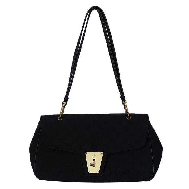 f0ea76187ae Buy Gucci Black GG Canvas Shoulder Bag 54649 at best price