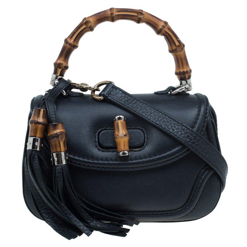458480e359b ... Gucci Black Leather Small New Bamboo Top Handle Bag. nextprev. prevnext