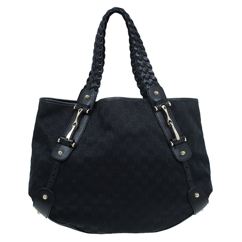 ea08514b6 ... Gucci Black GG Canvas Medium Horsebit Pelham Shoulder Bag. nextprev.  prevnext