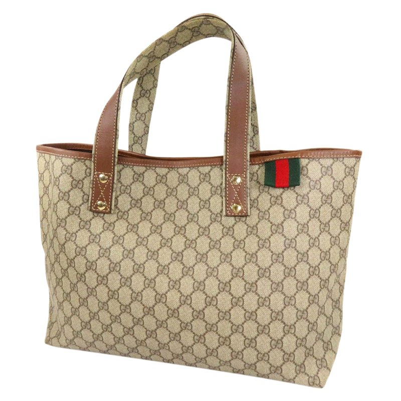 Gucci Beige/Brown GG Coated Canvas Signature Web Loop Tote