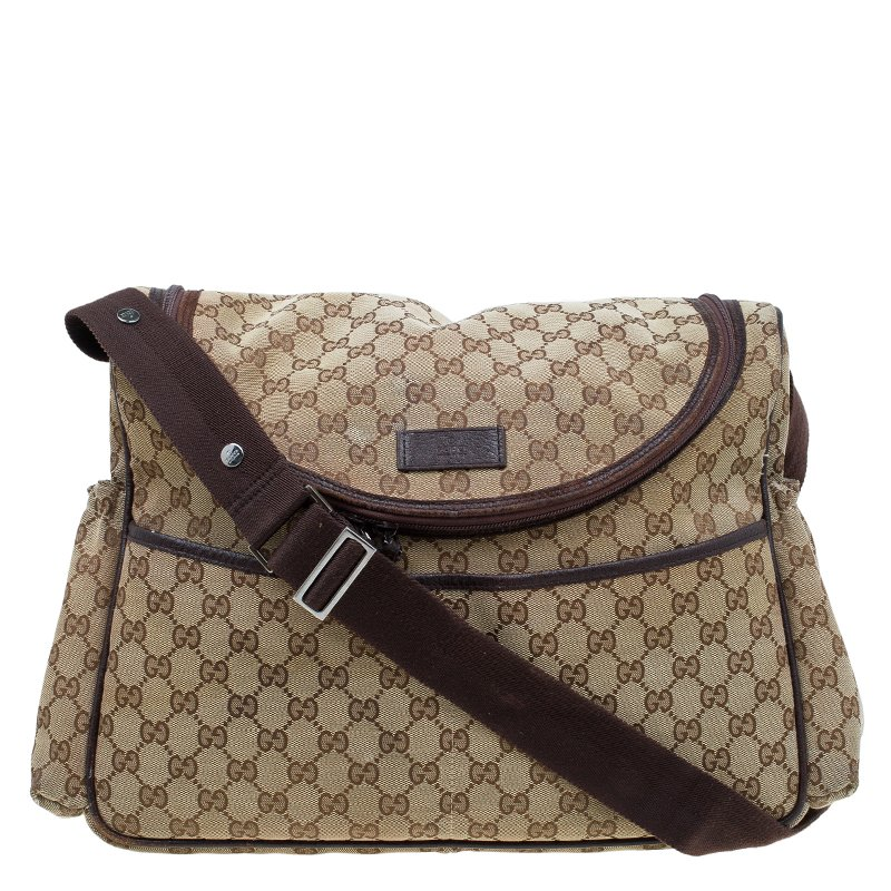b75d3e0dfaaa Buy Gucci Beige/Ebony GG Canvas Diaper Bag 56786 at best price | TLC