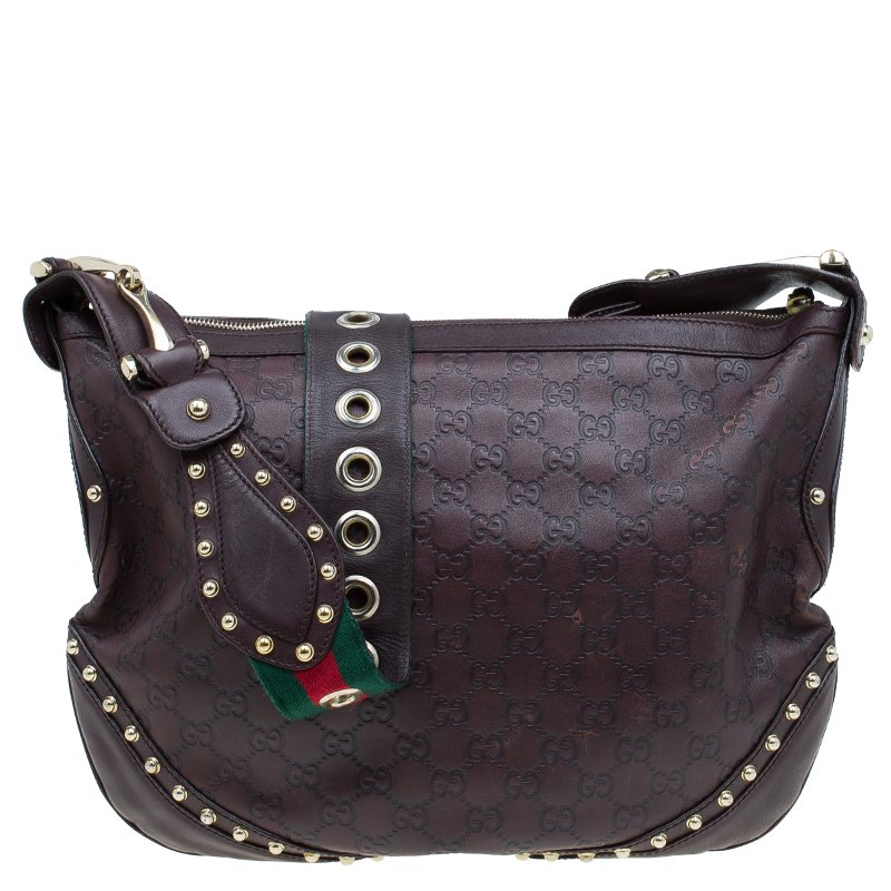 Gucci Brown Guccissima Leather Web Studded Pelham Horsebit Messenger Bag