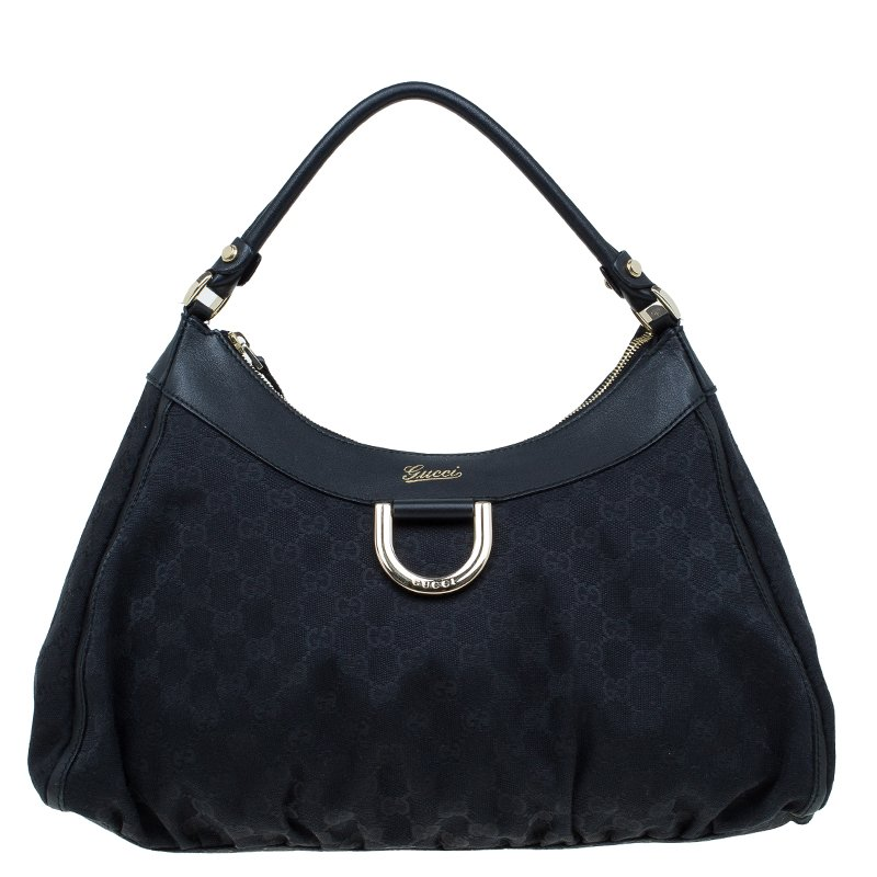 b8cc12f47 Buy Gucci Black GG Canvas Large D Ring Hobo 57487 at best price | TLC