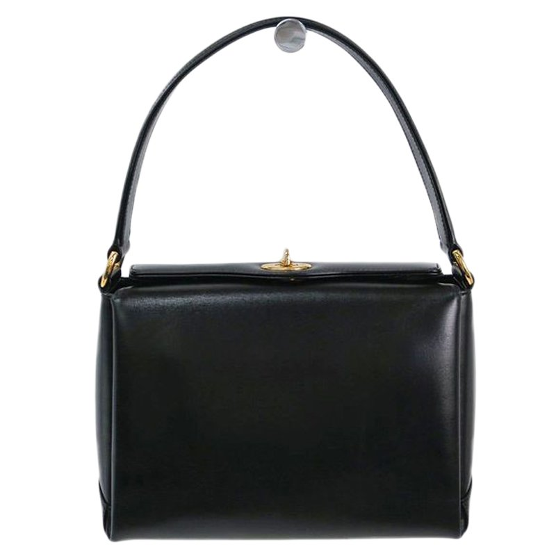 faed3c5be4e Buy Gucci Black Leather Vintage Top Handle Bag 58637 at best price