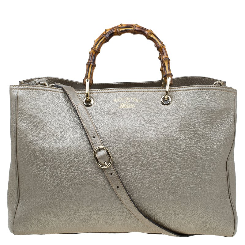 4bf8ba03e9108 Buy Gucci Golden Beige Leather Large Bamboo Tote 60449 at best price ...