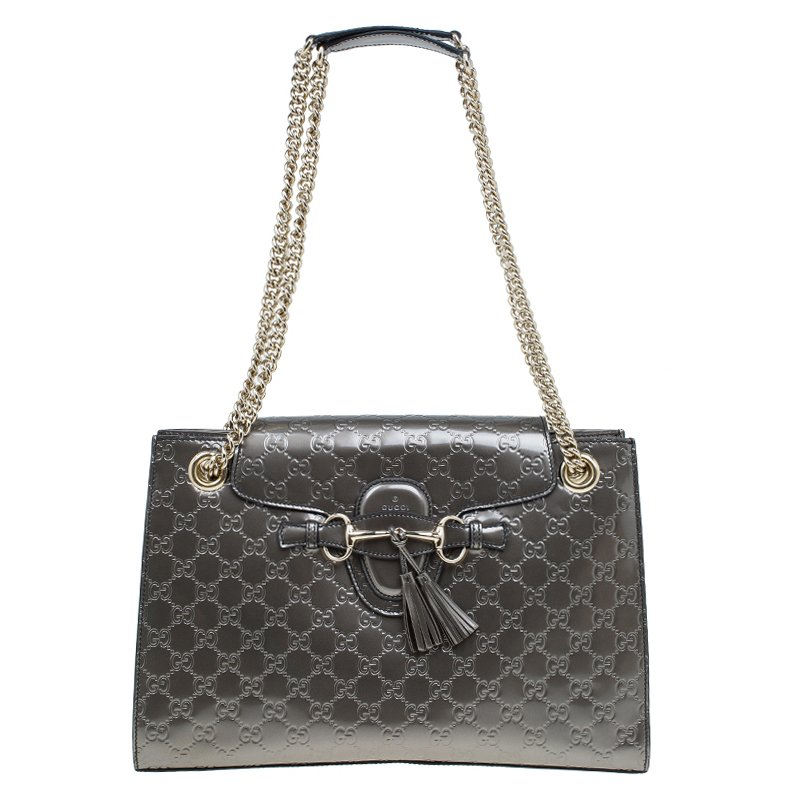 Buy Gucci Grey Guccissima Leather Large Emily Chain Shoulder Bag ... 644eeda6e