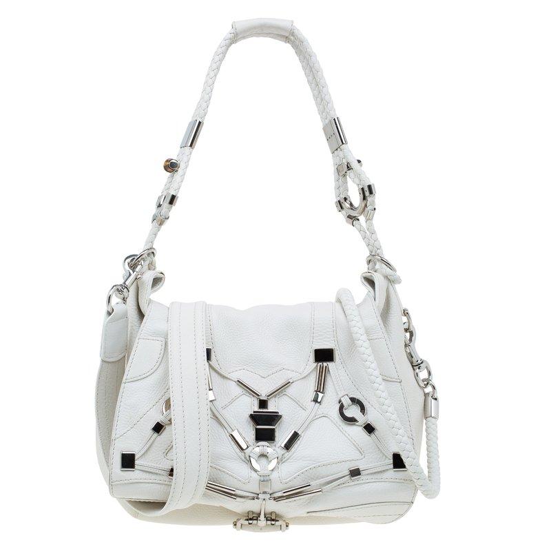 ccad3789c832c7 ... Gucci White Leather Large Techno Horsebit Flap Shoulder Bag. nextprev.  prevnext