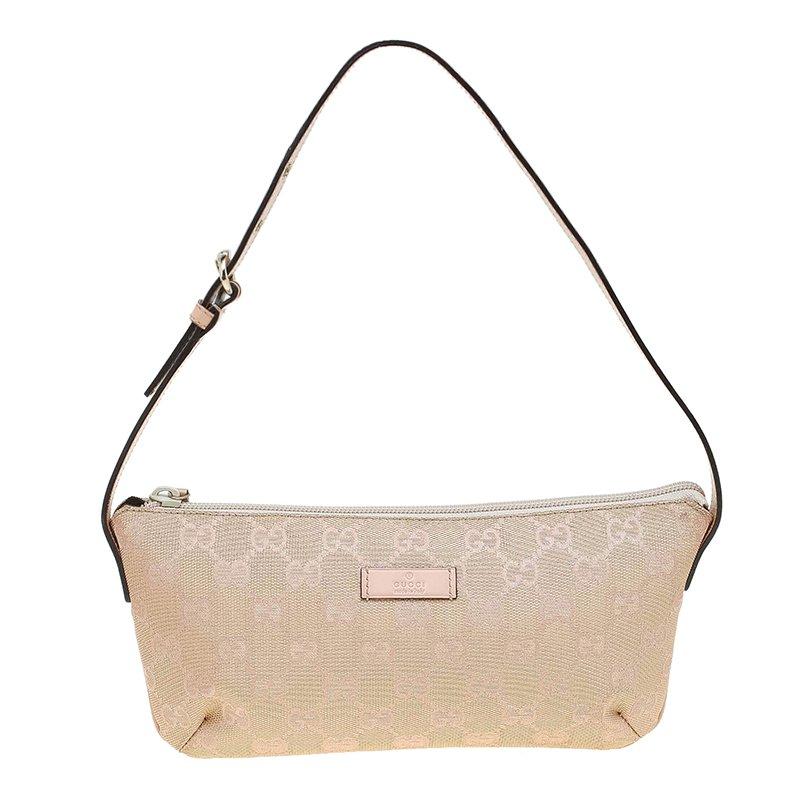 Gucci Metallic Pink GG Canvas Pochette Bag