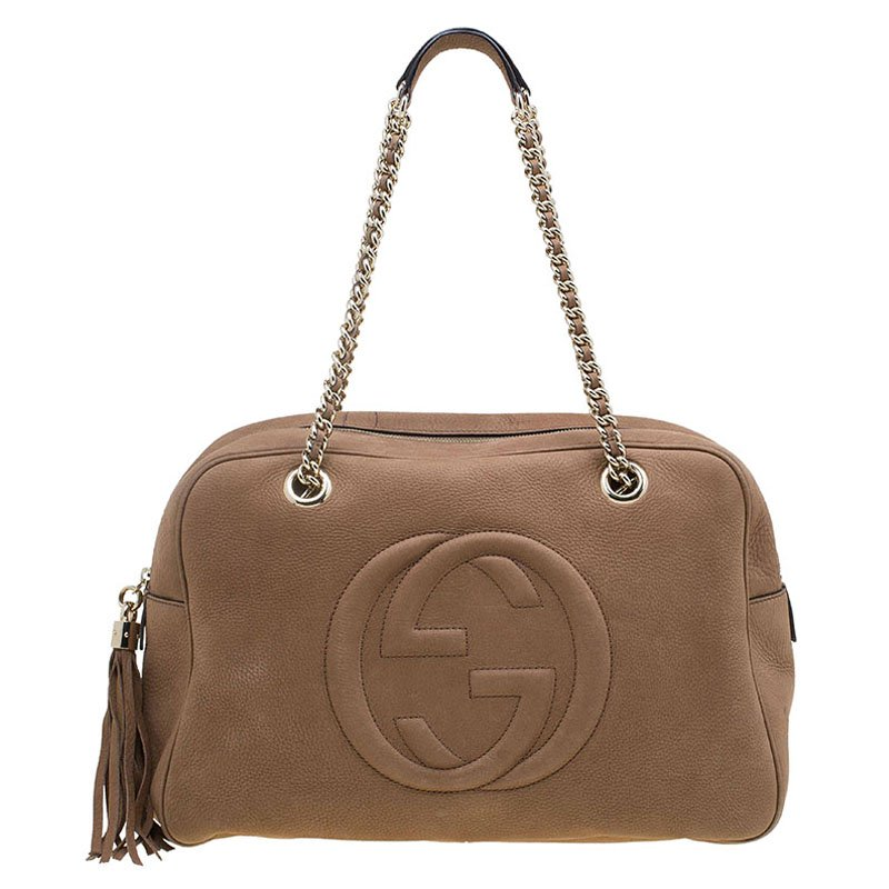 Gucci Brown Leather Soho Chain Satchel