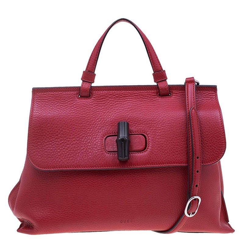 ee9016eeeb7e ... Gucci Red Leather Medium Bamboo Daily Top Handle Bag. nextprev. prevnext