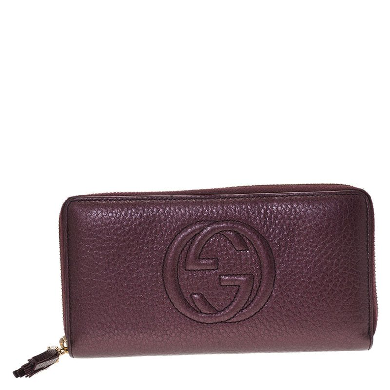 3c5c8b7fcc72 Buy Gucci Burgundy Metallic Leather Soho Zip Around Wallet 66768 at ...