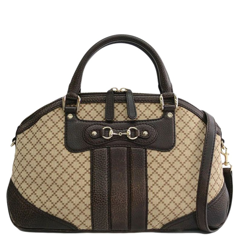 5cb82326d29316 Buy Gucci Brown Leather/ Canvas Horsebit Diamante Tote Bag 68044 at ...