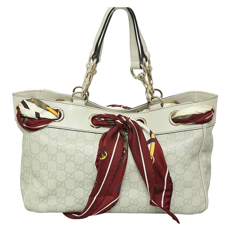 5174563ee86ba8 ... Gucci White Guccissima Leather Positano Scarf Tote. nextprev. prevnext