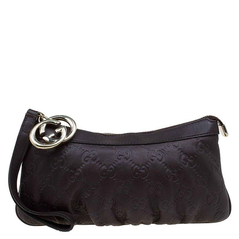 53629da8246 Buy Gucci Dark Brown Guccissima Leather Wristlet Pouch 71701 at best ...
