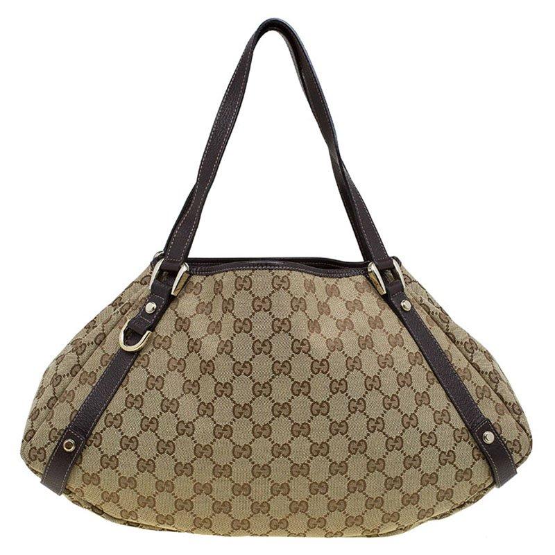 759f7b22 Gucci Beige/Brown GG Canvas Abbey D-Ring Shoulder Bag