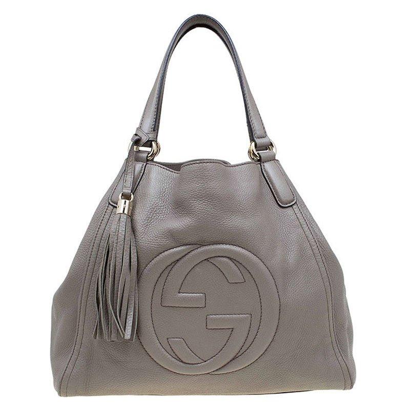 e1967d68393a ... Gucci Grey Pebbled Leather Medium Soho Shoulder Bag. nextprev. prevnext