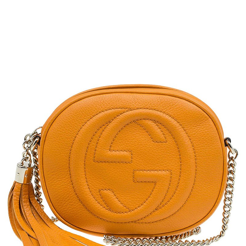 43444a4c8e5 Buy Gucci Fire Yellow Leather Mini Soho Chain Shoulder Bag 79316 at ...