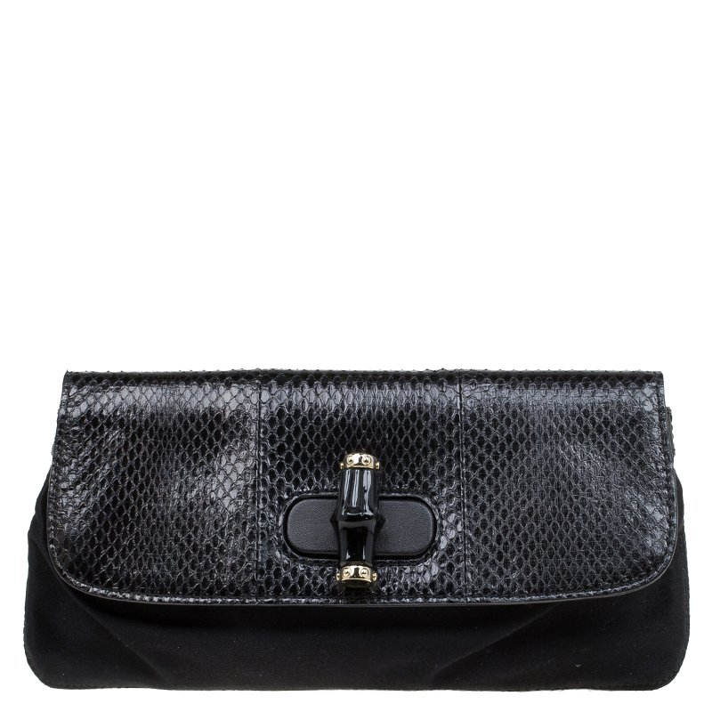 37425919e34c79 Buy Gucci Black Python and Satin Bamboo Clutch 79736 at best price | TLC