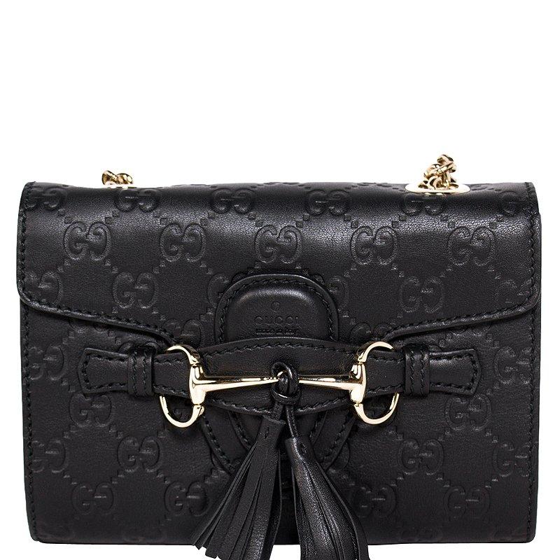 83140768bf7 ... Gucci Black Guccissima Leather Mini Emily Chain Shoulder Bag. nextprev.  prevnext