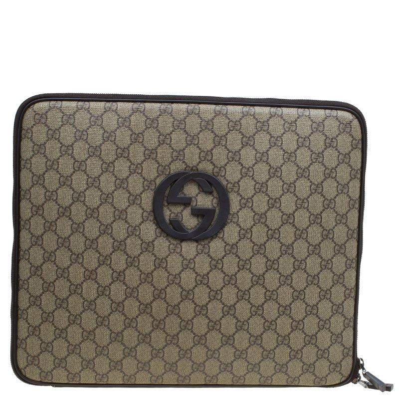 Gucci Beige/Ebony GG Supreme Canvas and Leather Interlocking Logo Laptop Case