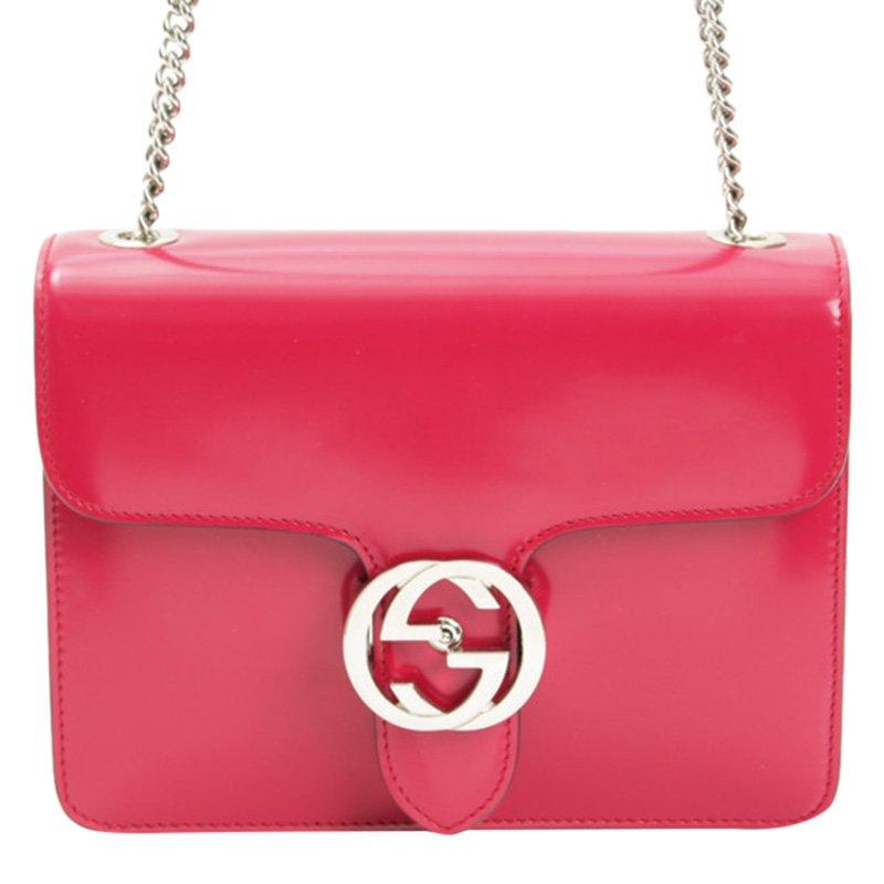 9b3489eae70c Buy Gucci Pink Patent Leather Interlocking Chain Shoulder Bag 80963 ...