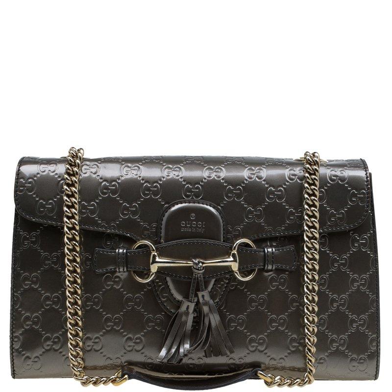 a7f110c4973 ... Gucci Metallic Grey Guccissima Patent Leather Medium Emily Chain  Shoulder Bag. nextprev. prevnext