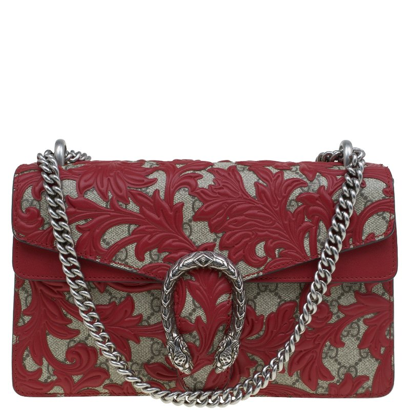 fccc5f1440c ... Gucci Red GG Supreme Canvas Small Dionysus Arabesque Shoulder Bag.  nextprev. prevnext