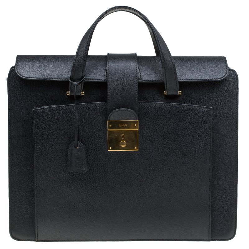 09ae65c6822 Buy Gucci Black Leather Vintage Document Briefcase 82066 at best ...