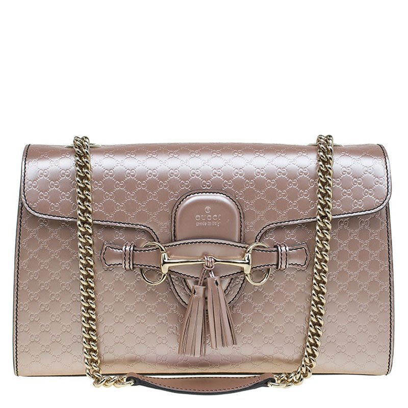 7732d5e63ac8 ... Gucci Metallic Pink Micro Guccissima Patent Leather Medium Emily Chain Shoulder  Bag. nextprev. prevnext