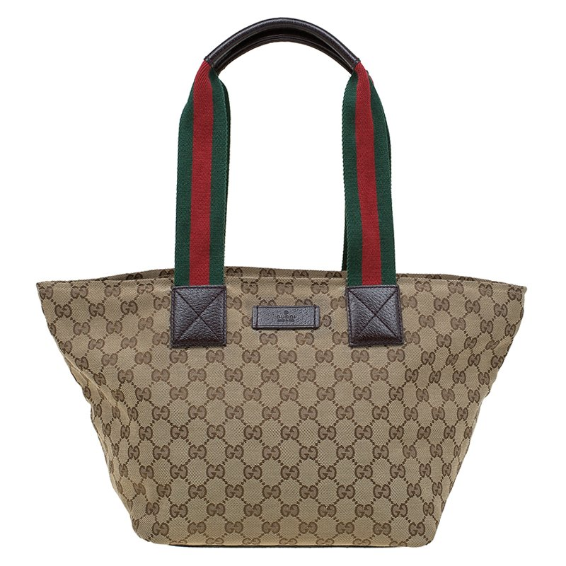 bfdbe0cc45ef Buy Gucci Beige GG Canvas Vintage Web Tote 83743 at best price