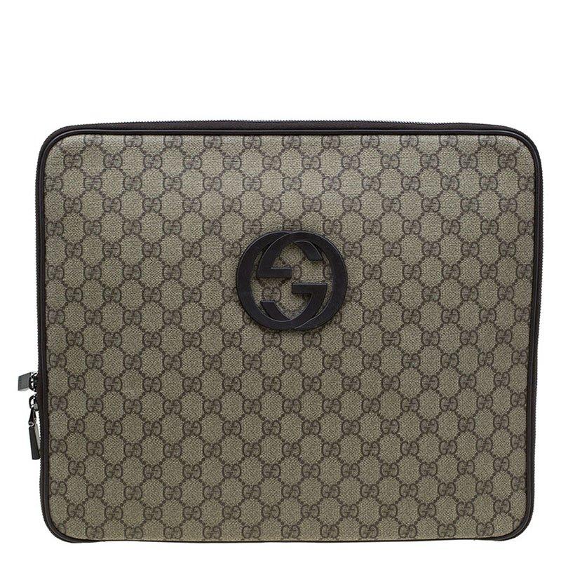 36a07b3965d ... Gucci Beige Brown GG Supreme Canvas Interlocking Logo Laptop Case.  nextprev. prevnext